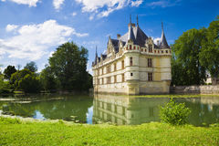 Azay-le-Rideau Chateau, France. Nice French chateau from Loire Valley Royalty Free Stock Images