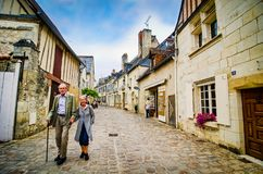 Azay le Rideau, France - June 24, 2012. Historic street in traditional architecture.  royalty free stock photo