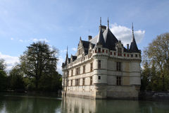 Azay le Rideau and moat. France, Loire Valley, Azay le Rideau and moat, reflection of castle Stock Image