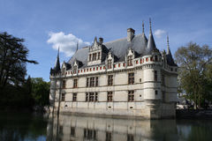 Azay le Rideau and moat. France, Loire Valley, front of Azay le Rideau and moat  looking at front side of castle Royalty Free Stock Images