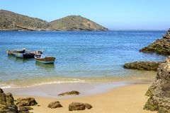 Azedinha Beach. Boats on the beach Azedinha in Buzios, northern coast of Rio de Janeiro Royalty Free Stock Photography