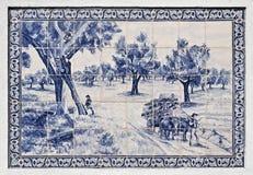 Azeitao belägger med tegel panelen Arkivfoto