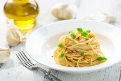Azeite e peperoncino de Spageti Fotografia de Stock