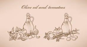 Azeite e tomates Imagem de Stock Royalty Free