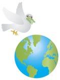 A azeitona da pomba da paz sae do voo sobre a terra Foto de Stock