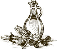 Azeitonas e azeite Foto de Stock Royalty Free