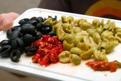 Azeitonas e pimenta Imagens de Stock