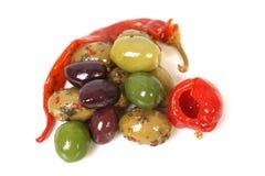 Azeitonas e pimentas Fotografia de Stock