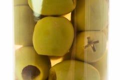 Azeitonas no vidro Imagem de Stock