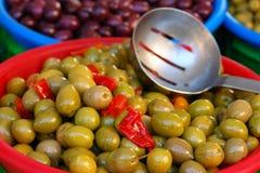 Azeitonas verdes Imagens de Stock