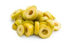 Azeitonas verdes cortadas Fotografia de Stock Royalty Free