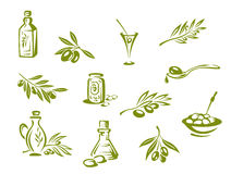 Azeitonas verdes e petróleo orgânico ilustração royalty free