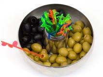 Azeitonas verdes e pretas Imagem de Stock Royalty Free