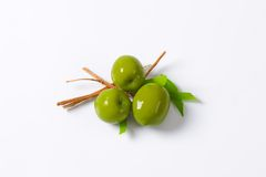 Azeitonas verdes frescas Fotografia de Stock
