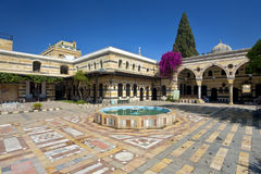 The Azem Palace. Syria. Damascus. The Azem Palace - fragment of courtyard served as the haramlik (reserved for family and women Royalty Free Stock Image