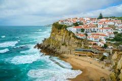Azenhas毁损,辛特拉,葡萄牙沿海城市 图库摄影