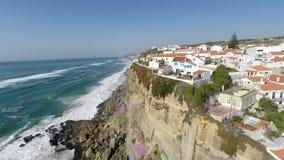 Azenhas空中录影镜头毁损,位于峭壁在辛特拉附近,葡萄牙 影视素材