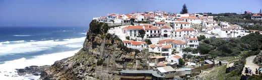 Azenhas do Mar – Panoramic View. Spectacular panoramic view of Azenhas do Mar, a seaside village on the Portuguese coast northwest of Lisbon, Portugal stock photography