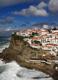 Azenhas do Mar 1. Portugal Lisbon Sintra 'Azenhas do Mar' - Picturesque white village built on a clifftop overlooking a wild Atlantic Ocean Stock Image