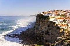 Azenhas Do Mar, Sintra, Portugal townscape on the coast. Atlantic coastline lisbon cliff ocean sea shore travel view village water city coastal destination royalty free stock images