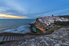 The Azenhas do Mar village at sunset in Portugal, Europe;. Concept for travel in Portugal and most beautiful places in Portugal stock photo