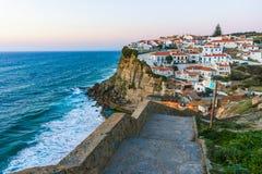 Azenhas do Mar white village on the cliff and Atlantic ocean, Sintra, Portugal. Azenhas do Mar white village landmark on the cliff and Atlantic ocean, Sintra stock image