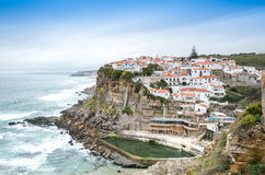 Azenhas do Mar white village landmark on the cliff and Atlantic Royalty Free Stock Photography