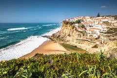 Azenhas do Mar white village landmark on the cliff and Atlantic Royalty Free Stock Image