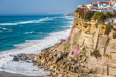 Azenhas do Mar white village landmark on the cliff and Atlantic Royalty Free Stock Images