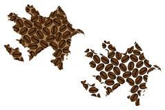 Azerbaijão - mapa do feijão de café Fotografia de Stock Royalty Free