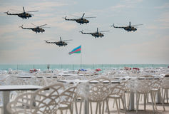 Azerbaijan Air Force. Military day parade in Baku, the Azerbaijan Air Force fly helicopters in formation Stock Photography