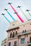 Azerbaijan Air Force. Military day parade, the Azerbaijan Air Force fly over Baku Royalty Free Stock Photo