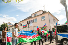 Azerbaijan Armenia conflict protest in front of Embassy Royalty Free Stock Photography