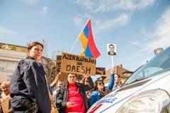 Azerbaijan Armenia conflict protest Stock Image