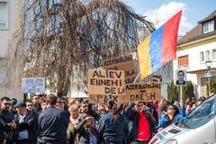Azerbaijan Armenia conflict protest Stock Photos