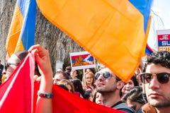 Azerbaijan Armenia conflict protest Stock Photography