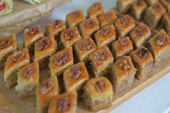 Azerbaijan baklava. Traditional Azerbaijan dessert baklava. Sweet Azerbaijan pastry closeup baklava. Paxlava is available for gues stock photography