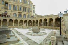 Azerbaijan, Baku : Arcades and religious burial Place in Old city, (Icheri Sheher) - UNESCO World Heritage Site. Arcades and religious burial Place in Old city Royalty Free Stock Image