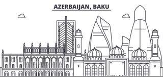 Azerbaijan, Baku line skyline vector illustration. Azerbaijan, Baku linear cityscape with famous landmarks, city sights. Vector design landscape Stock Images