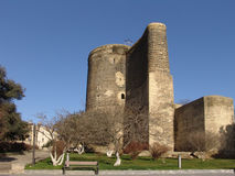 Azerbaijan Baku Maiden tower in the morning. Historical building in Baku, Azerbaijan royalty free stock image