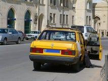azerbaijan baku Mening van stadsstraten Taxi Stock Foto