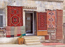 Azerbaijan. Baku. Veiw of city streets.  Carpet shop in old city Stock Images