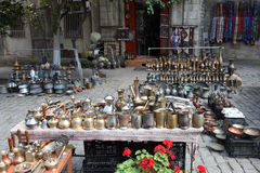 azerbaijan baku Veiw de ruas da cidade Cidade velha Loja do tapete Foto de Stock Royalty Free