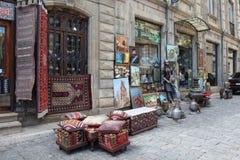 azerbaijan baku Veiw van stadsstraten Oude Stad Tapijtwinkel Royalty-vrije Stock Afbeeldingen