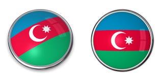 azerbaijan banerknapp royaltyfri illustrationer