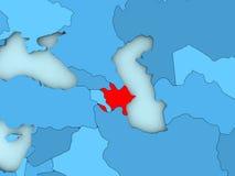Azerbaijan on 3D map Stock Image