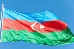 Azerbaijan - Flag. Flag of Azerbaijan waving in the wind Stock Photos