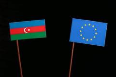 Azerbaijan flag with European Union EU flag  on black. Background Royalty Free Stock Image