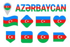 Azerbaijan flag icon set. Flat isolated symbols. Vector Azerbaijani flags set with state name in national language. traditional co vector illustration
