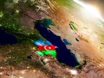 Azerbaijan with flag in rising sun Royalty Free Stock Photography